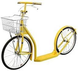"20"" Adult  BRIGHT YELLOW KICK SCOOTER  Amish Bike w/ Basket"