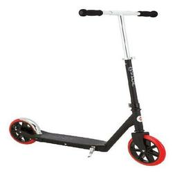 Razor A5 Carbon Lux Kick Scooter Black, Red Wheels Steel Out