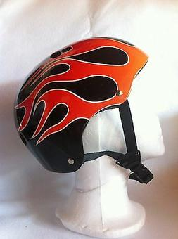 Adult Helmet Black w/Flame Cycling Skateboard Scooter Protec