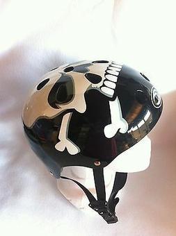 Adult Helmet BLACK W/WHITE SKULL Cycling Skateboard Scooter