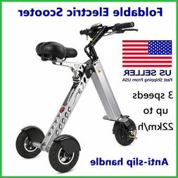 Foldable Electric Trike Scooter Bike 18650 Lithium For Adult