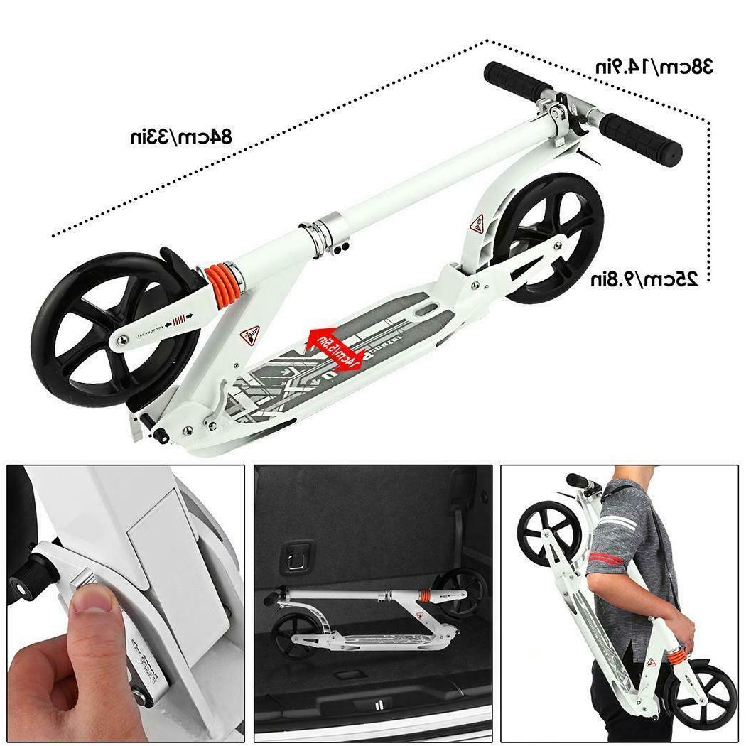 Foldable Kick Scooter 2  7.6inch Wheels Adjustable Height Fo