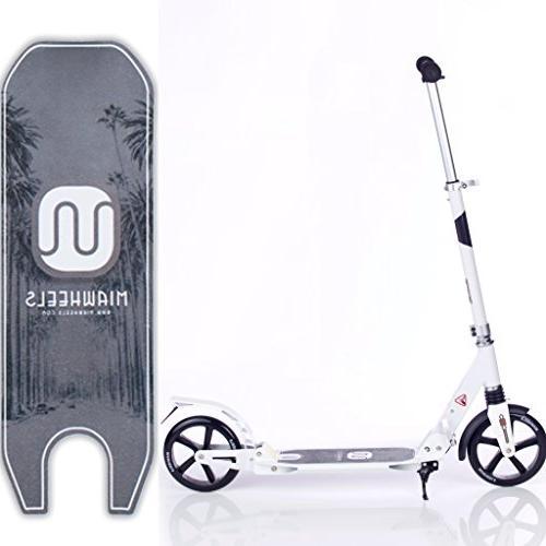 MIAWHEELS White/Black Foldable + Strap+Reflective+ Long Rear Aluminium Kick Scooter