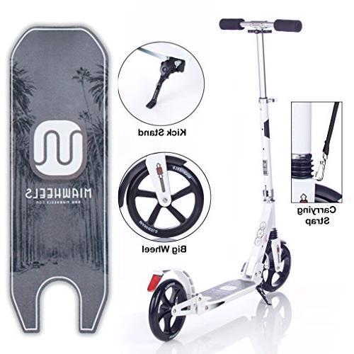 MIAWHEELS White/Black Adjustable & Foldable + Strap+Reflective+ Long Rear Kick Scooter