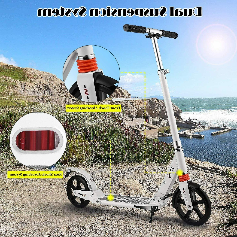 Adult Folding Kick Scooter W/ Dual Suspension,Hight-Adjustable Big Wheels