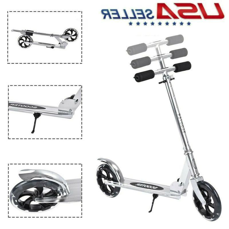 adult kids folding kick scooter sturdy portable