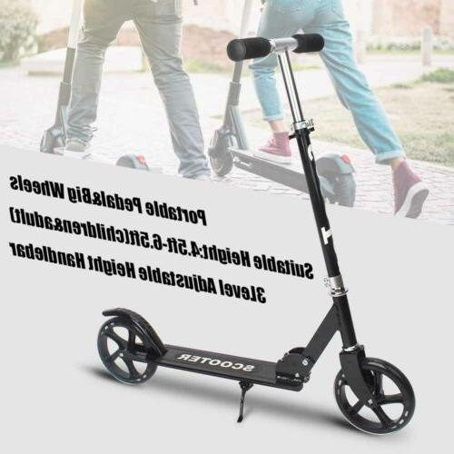 adult kids folding push kick scooters adjustable