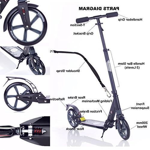 MIAWHEELS Black/Gray Foldable Suspension+ Long Rear Brake, Kick