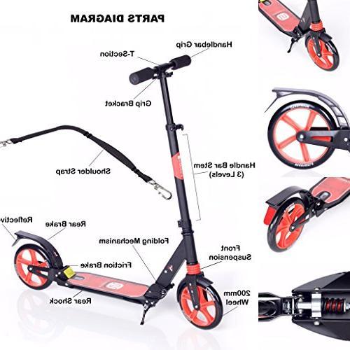 MIAWHEELS Black/Red Foldable + Suspension+ Long Rear Aluminium Kick