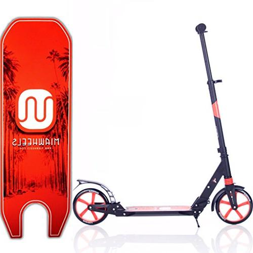MIAWHEELS Black/Red Adjustable Foldable + Long Rear Brake, Kick