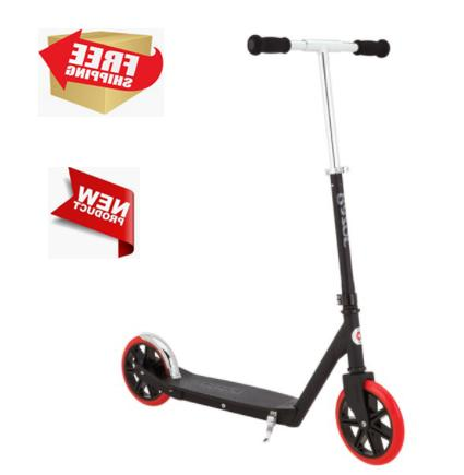 Carbon Lux Kick Scooter Black, Red Wheels Steel Outdoor Toy FREE