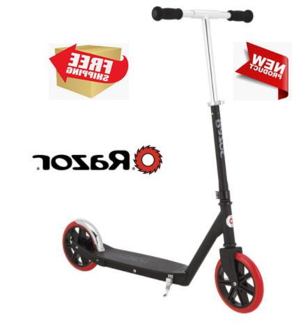 carbon lux kick scooter black red wheels