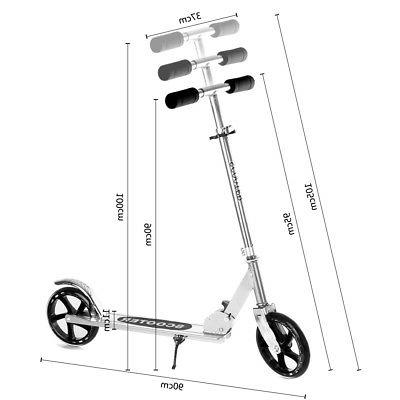 Folding Scooter Adult Kids Big PU Wheels Portable Adjustable Silver