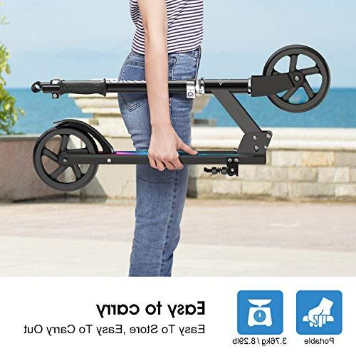ENKEEO Kick Scooter 220 lbs Capacity, Adjustable Wheels, Foldable Commuter Kids,