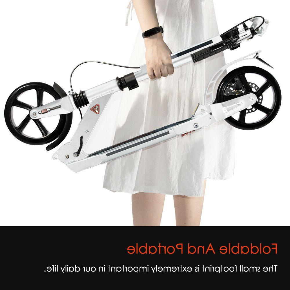 Kick Scooter Lightweight 2 Wheel Adult Ride Fun Adjustable White