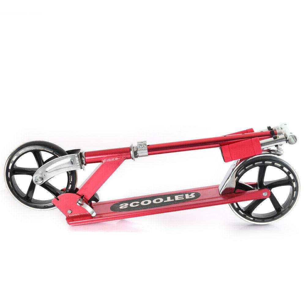 RED Aluminum Folding Scooter Ride For Kids Adults