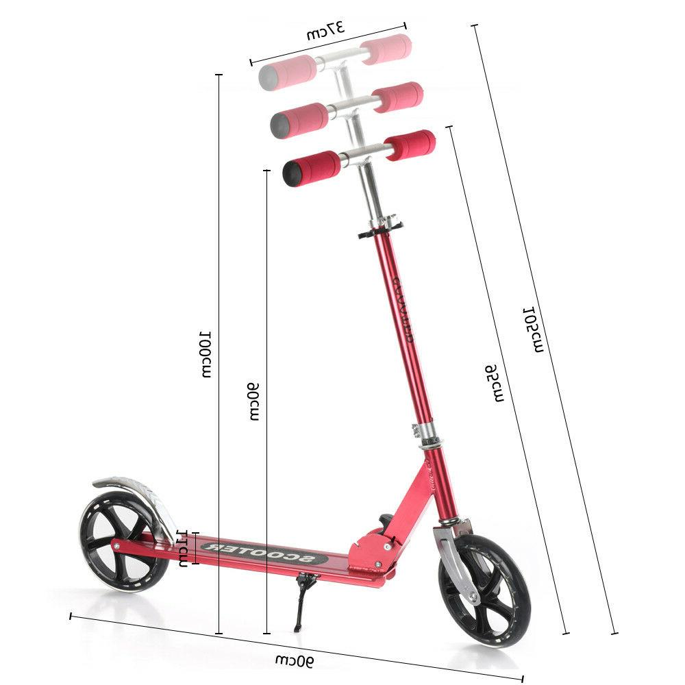 RED Aluminum Kick Scooter Adjustable Ride