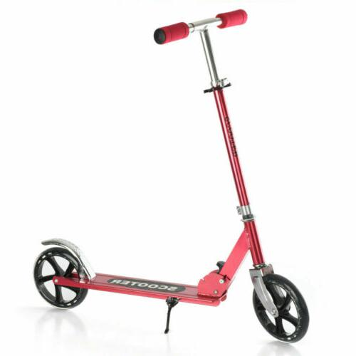 red aluminum folding kick scooter adjustable exercise