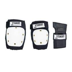 Trinity Skate Pads Pack Adult Black/White Board Roller Scoot